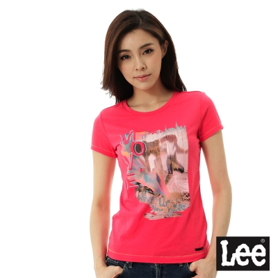 Lee 雷射印花短袖T恤-女-紅
