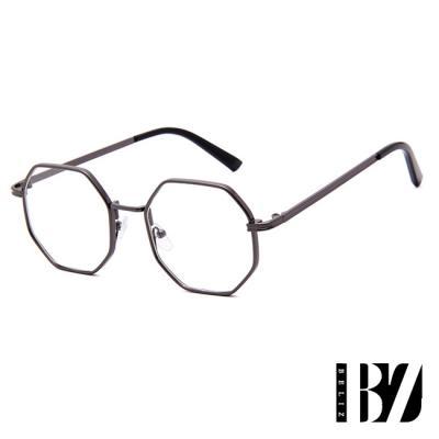 BeLiz 六角金屬 典雅細平光眼鏡 鐵黑