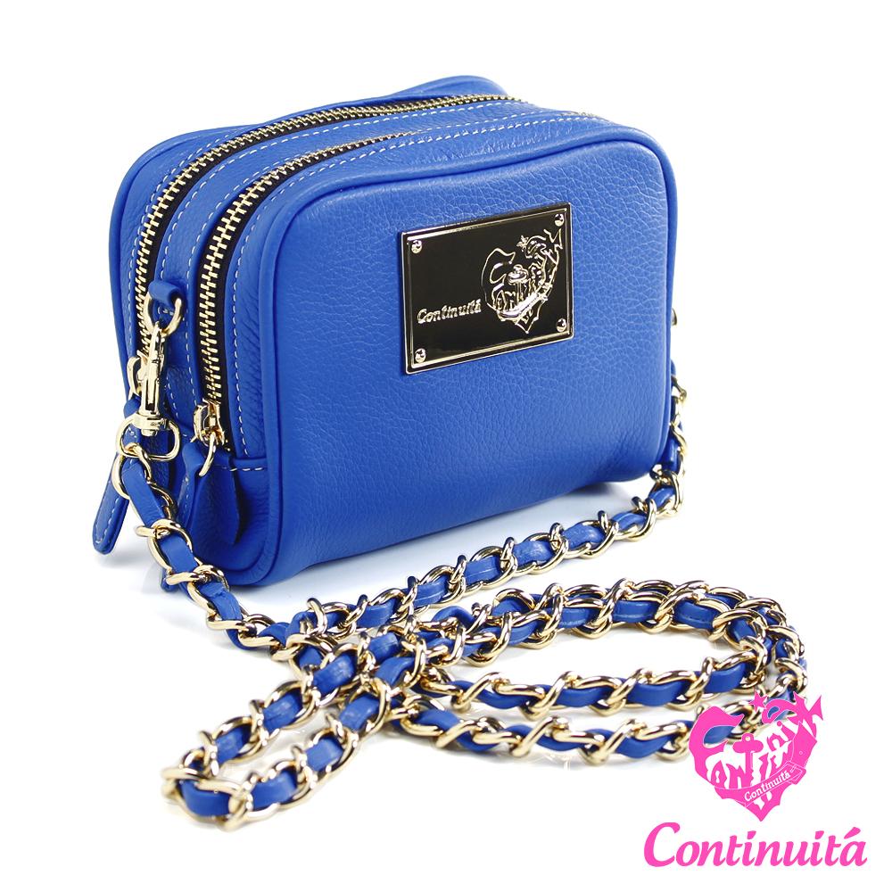 【Continuita 真皮屋】甜心馬卡龍真皮鍊包-藍色