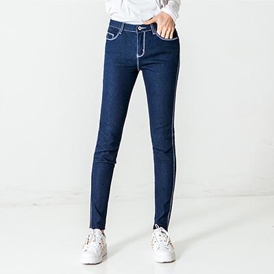 正韓-白色縫線不修邊抽鬚牛仔褲-共二色-N-C21