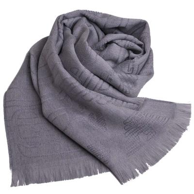 EMPORIO ARMANI 繽紛LOGO品牌圖騰羊毛圍巾(灰色)