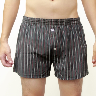 BVD 針織平口四角褲(成熟灰紅直條紋)