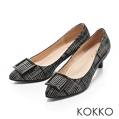 KOKKO- 都會尖頭方扣真皮舒壓高跟鞋 -格紋黑