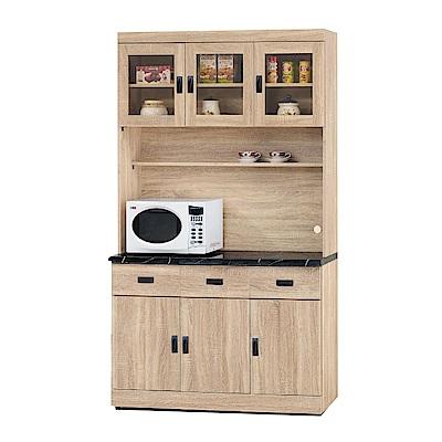 品家居 瑟亞4尺橡木紋石面餐櫃組合-121x43x210.4cm免組