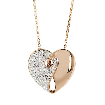 SWAROVSKI 施華洛世奇 Guardian雙色心型愛心水晶玫瑰金項鍊(大)
