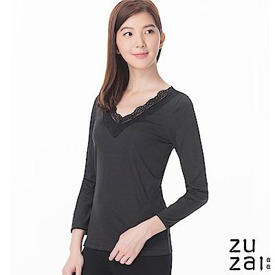 zuzai 自在發熱衣歸真系列女LACE長袖保暖衣-黑色