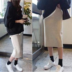 正韓 超顯瘦針織及膝裙窄裙