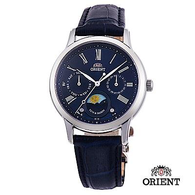 ORIENT 東方錶 SUN&MOON系列 日月相錶 皮帶款 藍色-34.8mm