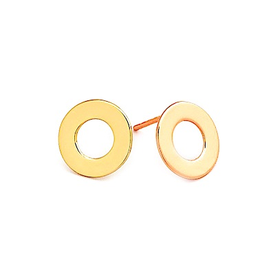 GORJANA 經典金色圓耳環 小寬版簍空設計 鑲18K金 Jagger Cutout