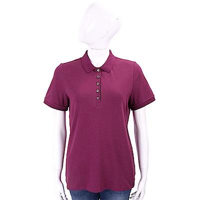 BURBERRY 格紋飾邊伸縮棉質網眼POLO衫(紫紅色)