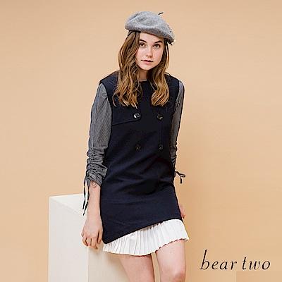 beartwo 完美修身排扣造型背心拼接無袖洋裝(深藍))