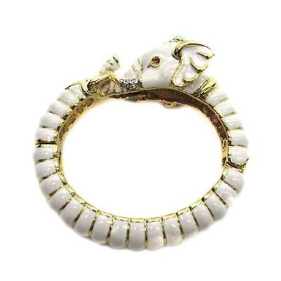 Kenneth Jay Lane 好萊塢巨星最愛 大象手環 白色 鑲水晶華麗搪瓷 附原廠盒