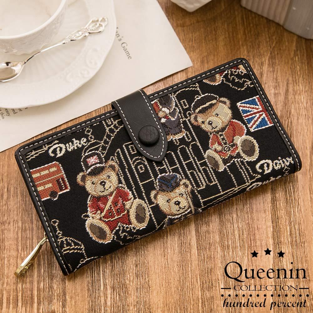 DF Queenin皮夾 - Mr.bear針織熊多卡功能舌扣式長夾-黑色