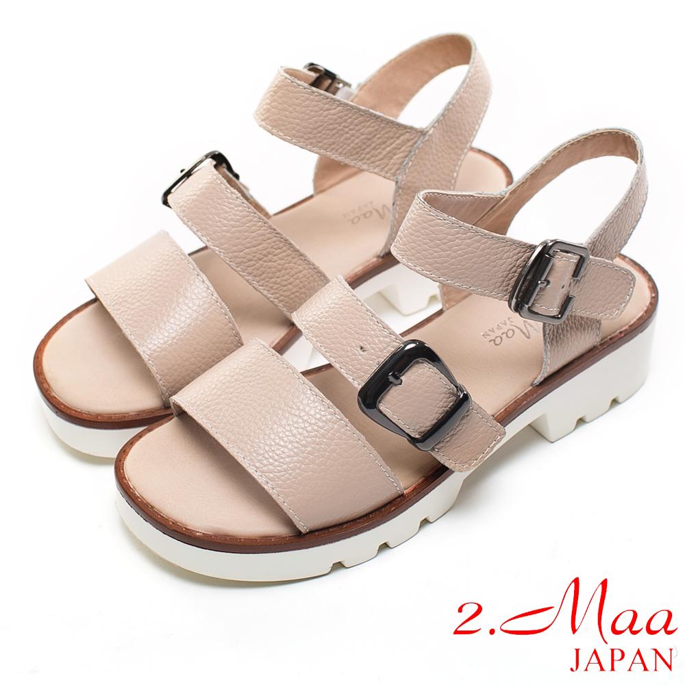 2.Maa 真皮系列-獨特荔枝紋牛皮x別緻扣環設計休閒涼鞋-白棕