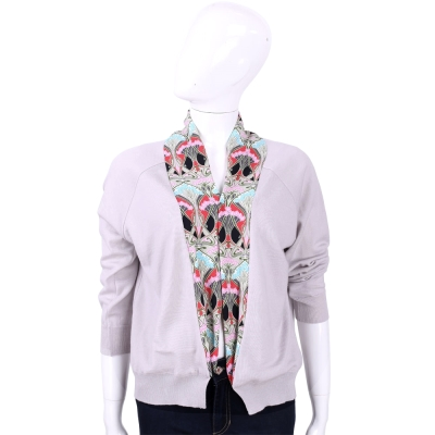 BLUGIRL 灰紫色印花拼接羊毛針織外套 (100%LANA)