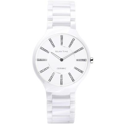 RELAX TIME 超薄晶鑽陶瓷腕錶-白/40mm
