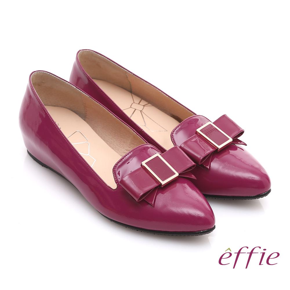 effie 輕透美型 真皮蝴蝶結飾尖楦內增高平底鞋 桃粉紅色