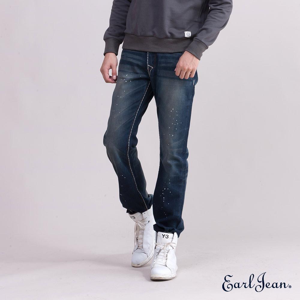 Earl Jean粗車線合身窄管單寧褲-深藍
