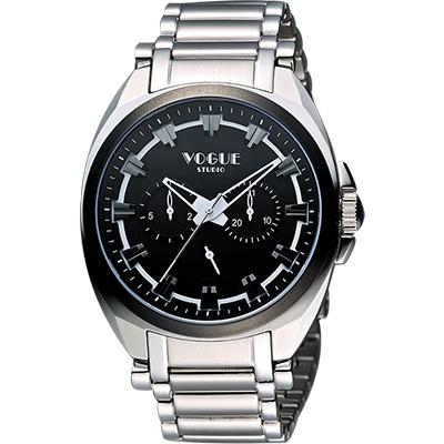 VOGUE 嶄新系列日曆時尚腕錶-黑/42mm