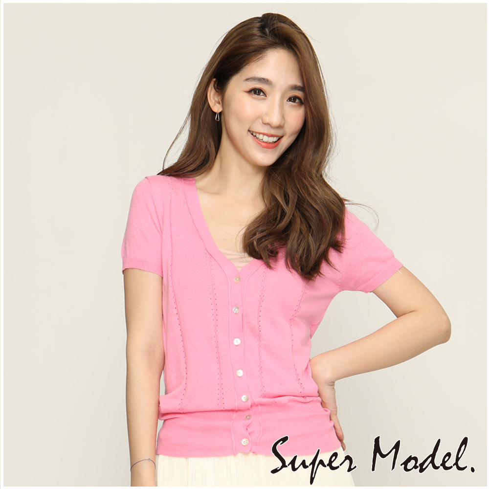 直條造型短袖針織小外套-粉色(F可選)     名模衣櫃