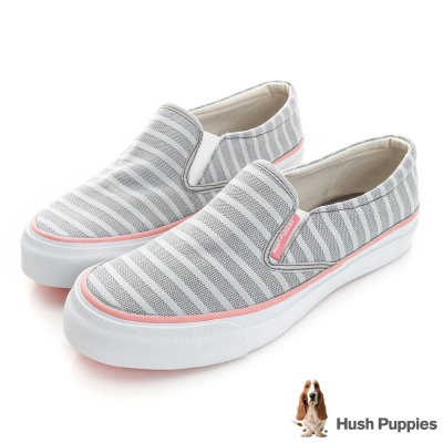 Hush Puppies 無印風網條咖啡紗中性懶人鞋-灰色