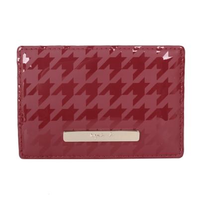 agnes b. 千鳥紋PVC證件卡夾-紅色/金logo