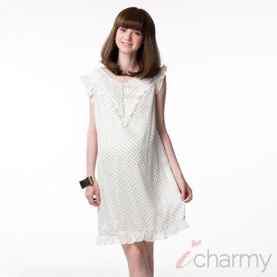 愛俏咪I-charmy浪漫風雪紡荷葉邊鈕釦裝飾背後拉鏈修身綁帶點點拼接洋裝