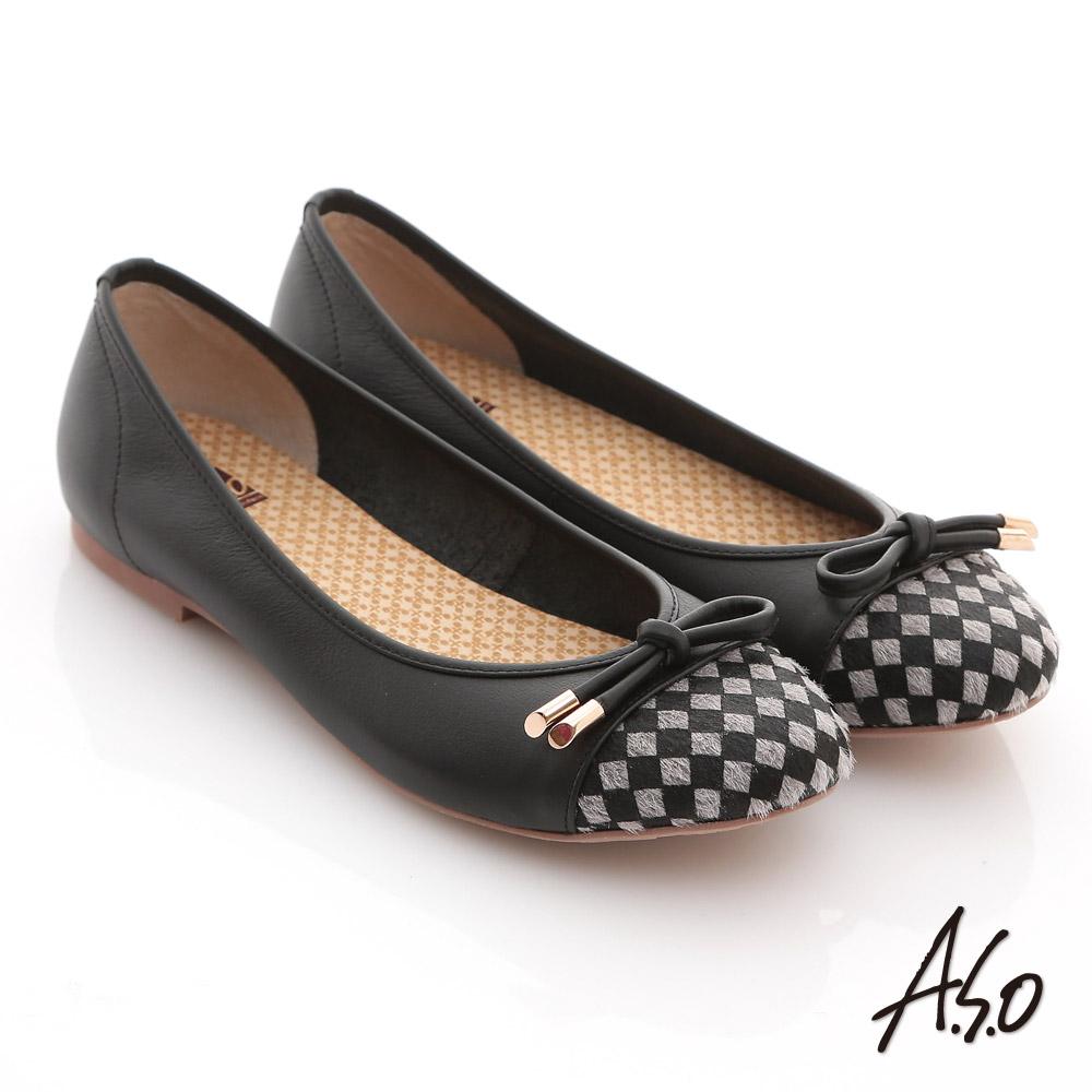 A.S.O 優雅甜美 全真皮菱格蝴蝶結飾奈米平底鞋 黑
