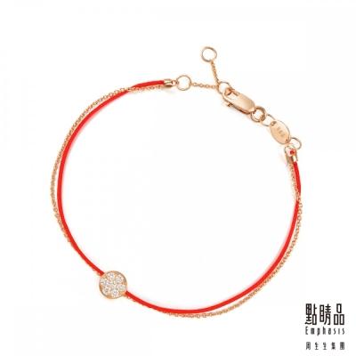 點睛品 圓滿 18K玫瑰金鑽石紅繩手鍊