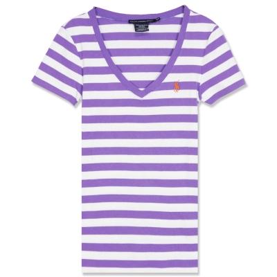 Ralph Lauren 小馬透氣純棉V領粗條紋女T(紫白)