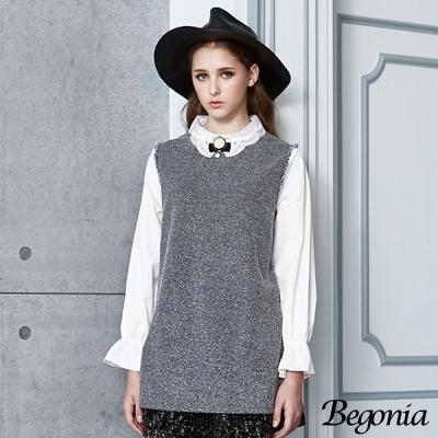 Begonia 刺繡領混色抽鬚拼接長版上衣(共二色)