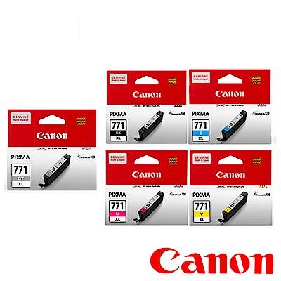 Canon 原廠五色高容量墨水組(CLI-771XLBK/C/M/Y/GY)