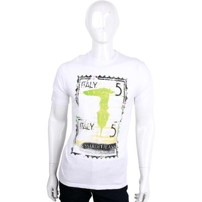 TRUSSARDI-JEANS 白色仿舊刷色郵票LOGO棉質短袖T恤
