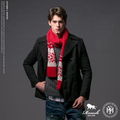 Roush 韓版基本款雙排釦毛料短大衣 - 2色