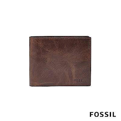 FOSSIL 短夾 DERRICK真皮RFID 皮夾-深棕色