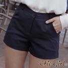 簡約風單扣休閒素色短褲 (共三色)-Chic Girl