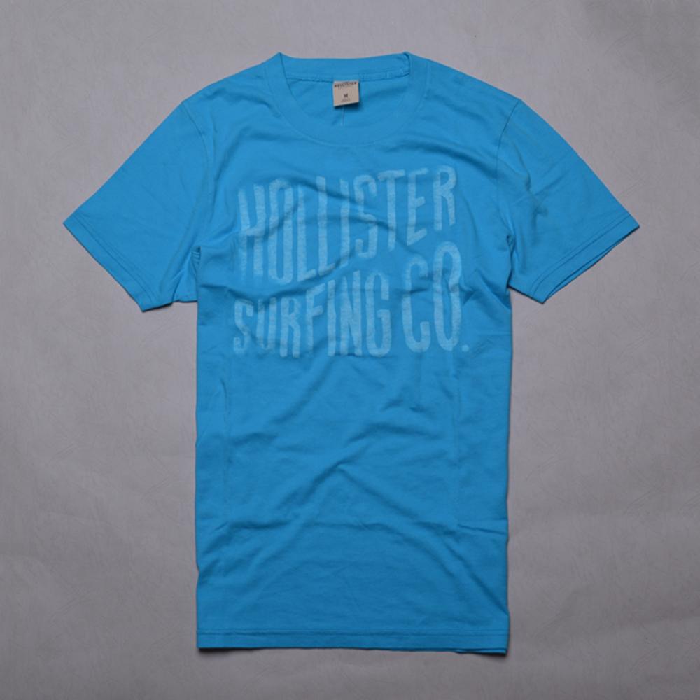 HOLLISTER Co. 英文印花短T-藍