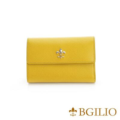 義大利BGilio 青春十字紋牛皮中夾-黃色 1713.306A-13