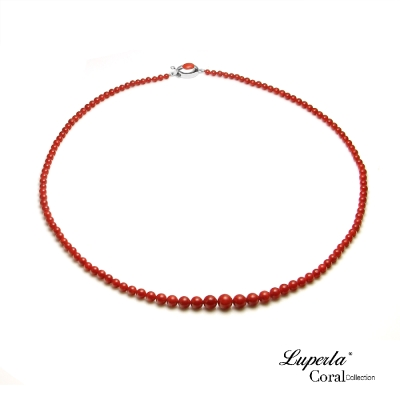 大東山珠寶 頂級天然全紅沙丁珊瑚項鍊小寶塔