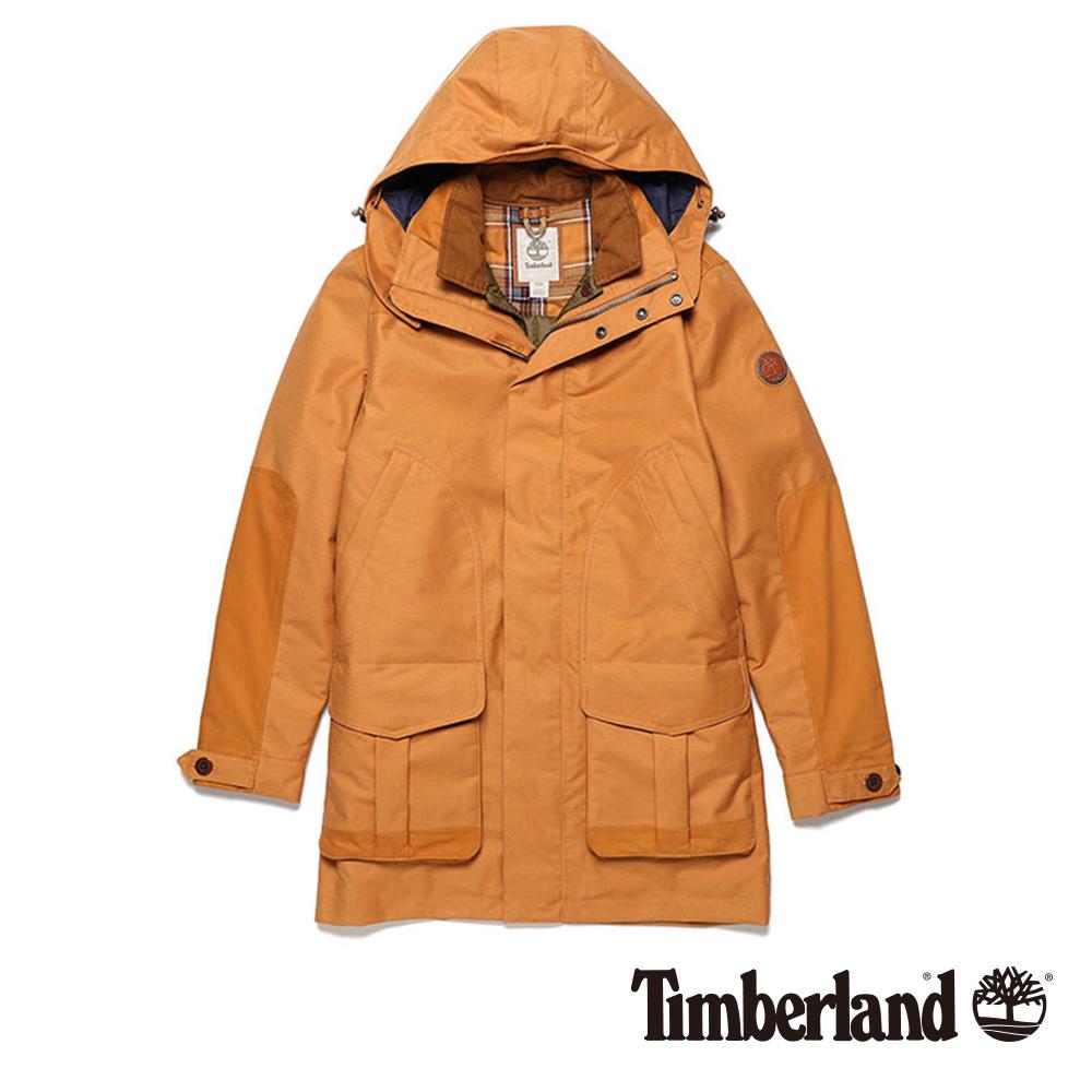 Timberland 男款棕色三合一連帽防水夾克外套