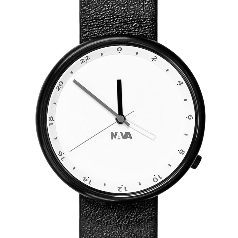 NAVA DESIGN Wherever 雙時區腕錶-白/40mm