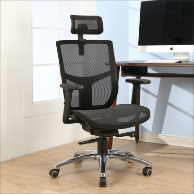 BuyJM 約克夏專利底盤全網鋁腳PU輪辦公椅-免組