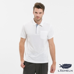 【LACHELN】Coolmax吸排抗UV彈力POLO衫-白(L72M907)
