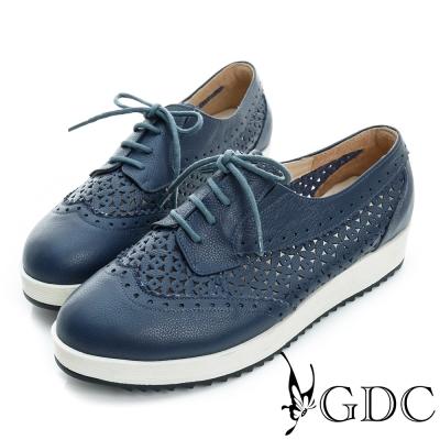 GDC-真皮繫帶雕花沖孔厚底休閒鞋-藍色