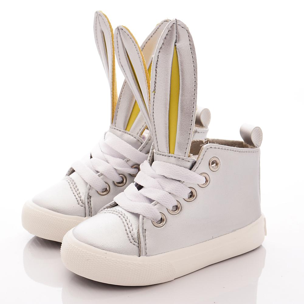 HABU韓版 兔耳朵皮質潮鞋款 K21-SV 銀 (寶寶段)T1