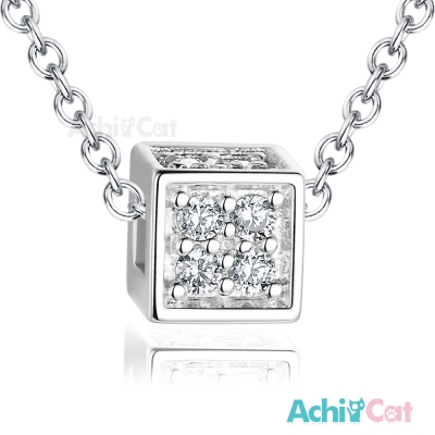 AchiCat 925純銀項鍊 閃耀方塊 鎖骨鍊