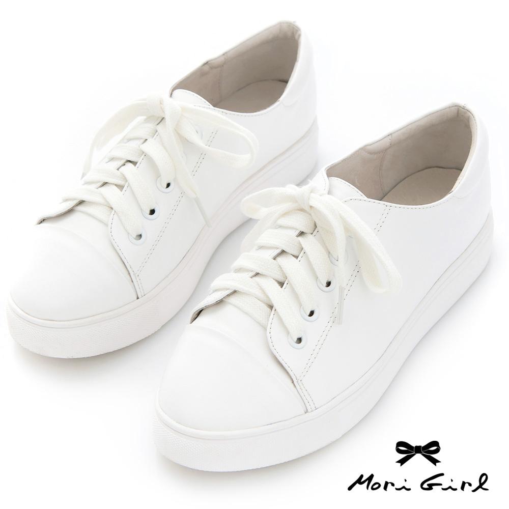 Mori girl 無印風格全真皮小白鞋
