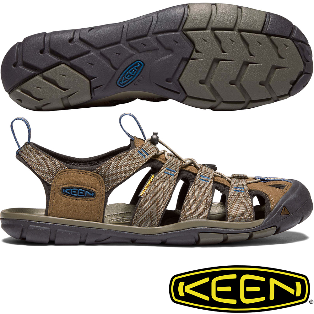 KEEN 1018495咖/藍 Clearwater CNX 男戶外護趾涼鞋