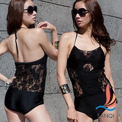 SANQI三奇 渲染玫瑰 一件式連身式泳裝(黑M~XL)