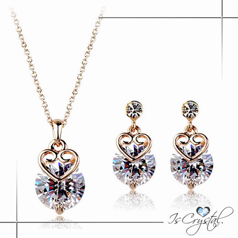 伊飾晶漾iSCrystal 奉獻的愛 鋯石切割耳環項鍊組